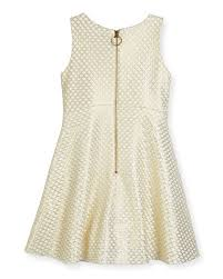 zoe lexie sleeveless netted mesh fit and flare dress gold size 7 16
