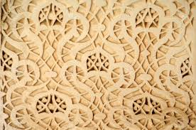 stucco ornament as a detail of moroccan architecture stock photo