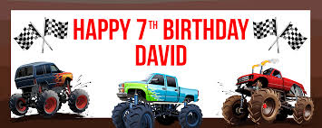 monster truck jam party supplies monster truck giant personalized banner party supplies canada