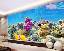3d Wallpaper Custom Mural Marine World Fish Coral Aquarium