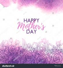 happy mothers day watercolor card flower stock vector 402689992