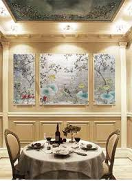 hand painted wallpaper panel dining dishes centerpieces