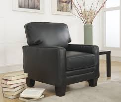 Black Leather Accent Chair True Innovations
