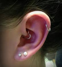 heart cartilage left ear dual lobe with cartilage and daith heart piercing