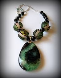 black agate necklace images Green and black agate pendant necklace by dancingrainbows on zibbet JPG