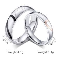 promise ring sets for him and fashion heart ring his and promise rings sets stainless steel