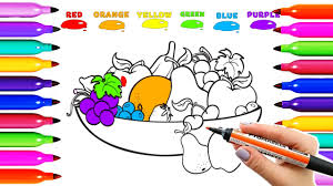 draw coloring fruit banana orange lemon grapes apple colored kids