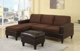 microfiber sectional with ottoman poundex f7291 chocolate microfiber sectional sofa w ottoman