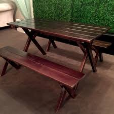picnic table rentals signature party rentals espresso picnic table w bench rentals