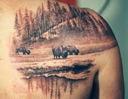 landscape tattoos amazing buffalo buffalo 66 tattoos 3 buffalo