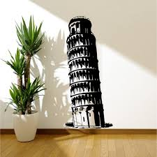 leaning tower of pisa wall sticker decal mural stencil transfer leaning tower of pisa wall sticker decal mural