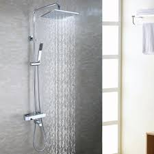 popular thermostatic bath buy cheap thermostatic bath lots from bath tub exposed shower faucet set 10 inch bathroom rain shower head brass hand shower holder