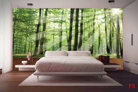 murals green forest with a wooden platform wall murals green forest with a wooden platform