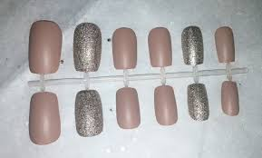 matte tan glitter fake nail set press on nails acrylic