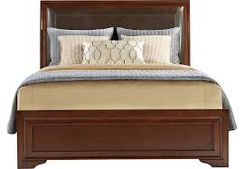 King Cherry Headboard Belcourt Cherry 3 Pc King Upholstered Bed Beds Dark Wood