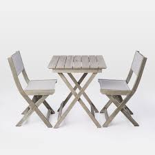 Miami Bistro Chair Portside Folding Bistro Set Weathered Gray West Elm