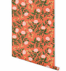 Wallpaper Shop Peonies Persimmon Wallpaper By Rifle Paper Co Made In Usa