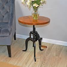 vintage style hi lo adjustable height wooden end table 663312