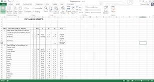 Detailed Construction Cost Estimate Spreadsheet Sample Detailed Estimate Excel Sheet