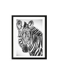 zebra charcoal original drawing home decor nursery zebra art kids