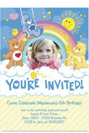 care bears birthday invitations birthday party card digital