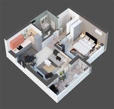 Apartment Plan Small Space Apartment With A Tiny Terrace 50 Sq M Designed With