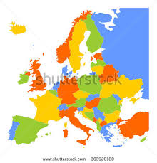 blank map of europe colorful blank map europe vector illustration stock vector