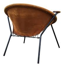 danish balloon teak and light brown suede chair by hans olsen for