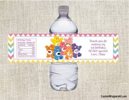 care baby shower birthday water bottle label care bears