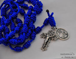 rosary twine st damien of molokai patron blue knotted twine rosary