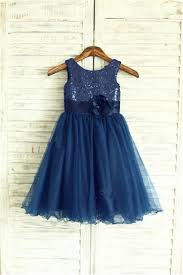 2016 navy blue sequin tulle flower dress curly hem wedding