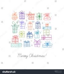 greeting card colored christmas doodle gift stock vector 745122358