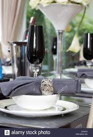 dinner table setting with wine and luxury wine glasses stock photo