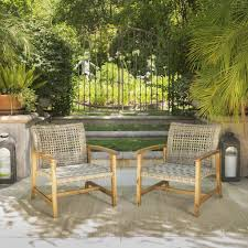 savannah outdoor mid century acacia wood frame wicker club chairs