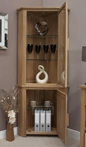 Tall Corner Display Cabinet Edinburgh Solid Oak Glazed Corner Display Cabinet Oak Dressers