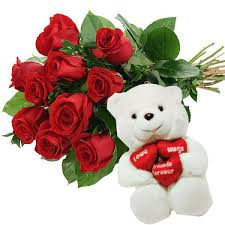 Dozen Roses Roses With Small Teddy Bear