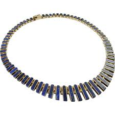 collar necklace sterling silver images Lapis necklace vintage sterling silver collar necklace cleopatra jpg