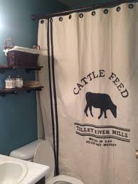diy grain sack shower curtain and rustic industrial shelves