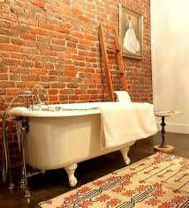 modish bathroom design with brick wall and white tub dweef com