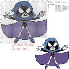 raven free cross stitch pattern teen titans 100x92 7 colors