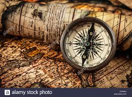 Map Of Usa With Compass Map And Compass Pics Old Vintage Compass On Ancient Map Stock