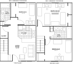 100 two bedroom apartments floor plans architectural plan