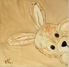 toile pour chambre bébé tableau enfant bébé esthéban le lapin en peluche cache cache