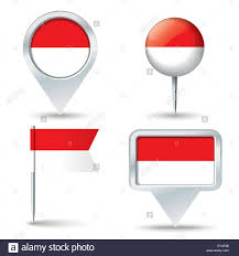 Pin Flags Map Pins With Flag Of Indonesia Vector Illustration Stock Vector