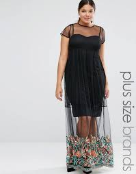 boohoo plus boohoo plus embroidered hem mesh maxi dress