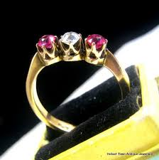fine art deco ruby diamond 18ct gold trilogy ring 92tcw