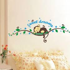 online get cheap dream wall stickers aliexpress com alibaba group sleepping monkey cartoon wall stickers sweet dreams wall decals for nursery baby room decor china