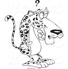 vector of a cartoon confused jaguar coloring page outline by