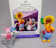f2 1998 hallmark the garden of piglet and pooh set of 2 ornaments ebay