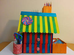 art and craft diy how to make ice cream popsicle stick house desk